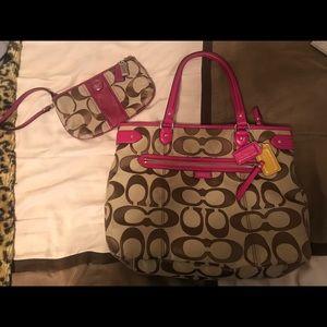 Coach handbag & wristlet set